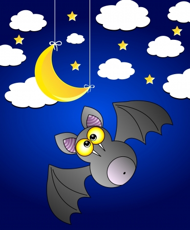 Vector night scennery with bat. Night sky with clouds, moon, stars. Vector