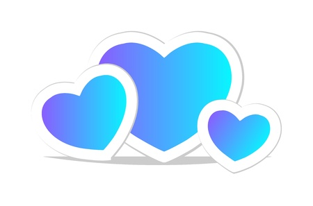 blue heart. Icon with reflection. Isolation over white background. Vector