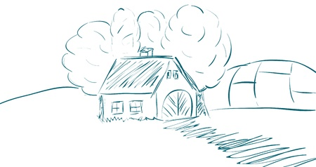 milker: Vector landscape with house, trees and fields. Illustration
