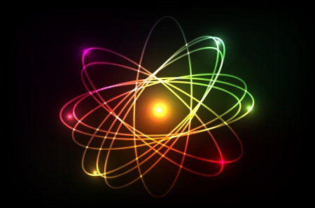 atomic nucleus: Vector molecule of atom. Looks like plasma, neon or laser. Isolation over dark background. Illustration