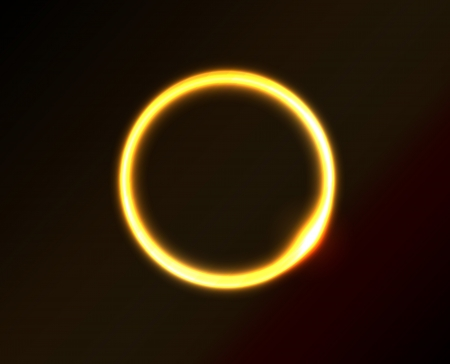 Vector yellow circle looks like ring of fire or sun in space. Dark background. Vector