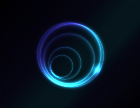 Vector blue glowing spiral on dark background. Space and spirit. Vector