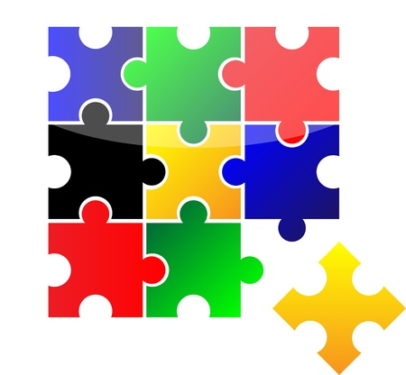 jig saw puzzle: Vector puzzle  Creative illustration  Isolation over white background  Illustration