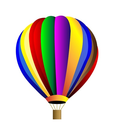 Vector hot air colorful balloon. Isolation over white background. Çizim