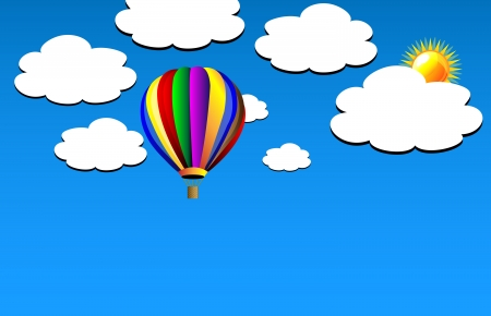 Vector hot air colorful balloon on blue sky. Clouds and sun. Background. Vector