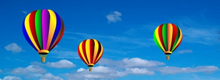 Vector hot air colorful balloon on blue sky with white clouds. Background. Vector