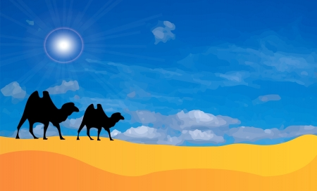 Vector desert landscape with two silhouettes of camels. On background is blue sky with sun and clouds, sand. Sahara. Vector
