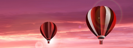Vector abstract hot air balloon on red sky with sunset. Red, pink and white collor. Sun reflection and rays. Beautiful background. Vector