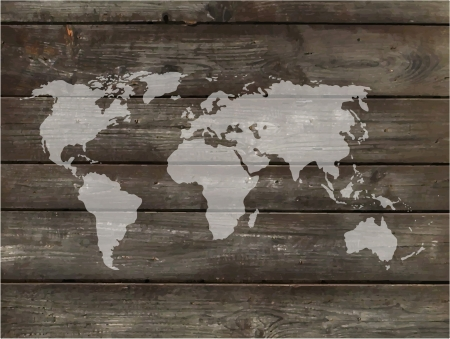 furniture detail: Vector world map with wood background. Clear map and brown wooden table.