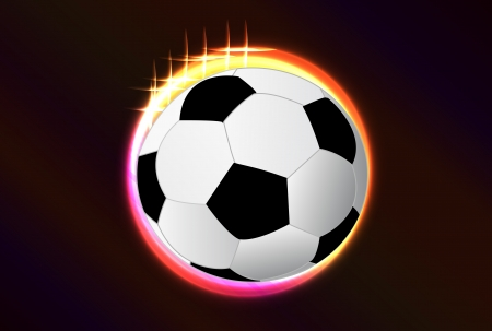Nice colorful glow circle vector background for your creative work with soccer ball. Vector
