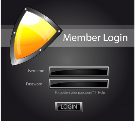 login button: Vector layout or template for security member login, with password and user name and login button. With glossy icon of yellow security shield. Illustration