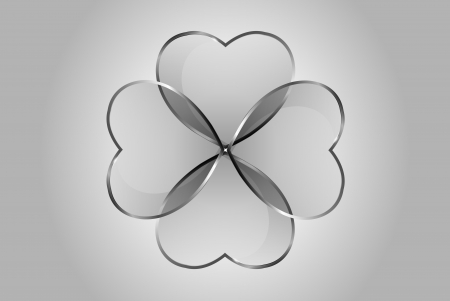 quarterfoil: Vector beautiful glossy glass hearts and clover. Looks like realistic glass. Icon and background. Clear and transparent quarterfoil.