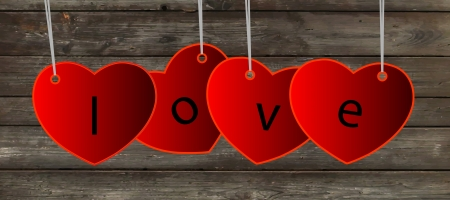 Vector hearts in red color. Wood or wooden table background. Valentine´s Day card. Vector