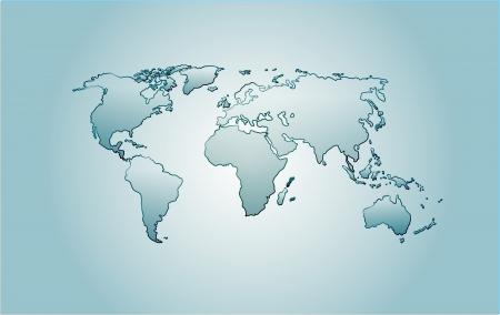 Vector glass world map  America, Africa, Australia, Europe, Asia over blue background   Vector