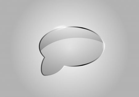 Vector glass speech bubble  Looks like realistic glass  Icon and background  Clear and transparent Stock Vector - 20828038