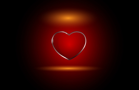 Beautiful vector glass heart  Red color over fire background