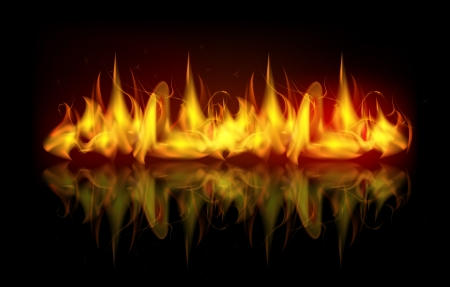 illustration of burning fire flame on black dark background with reflection