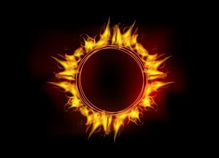 vector illustration of burning fire flame circle on black dark background Illustration