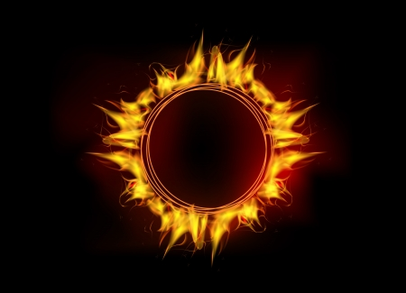 vector illustration of burning fire flame circle on black dark background Çizim