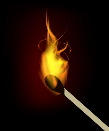 pyromania: Vector burning match with fire flame. Isolation over black background.