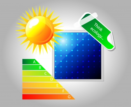 Vector icon of solar panel. Isolation over white background. Sun, sticker and energy chart. Vector