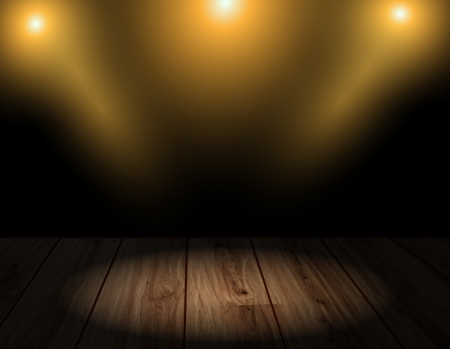 interior lighting: Vector wood. Wooden floor and wall. Room interior with lights or lighting effects. Background.