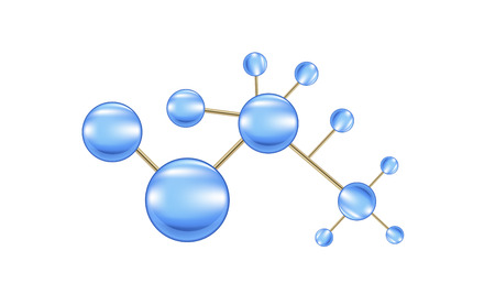 isolation: Vector blue molecules. Isolation over white background.