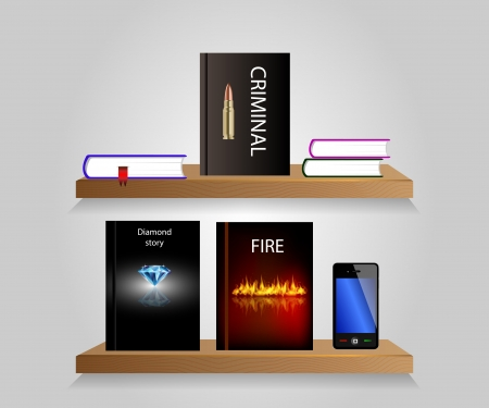 Vector bookshelf with some books and shelfs. Background. Vector