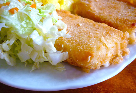 hermelin: Fried cheese with salad and potato.