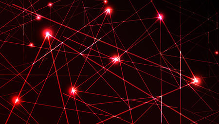 Nice vector laser light in red color and dark background