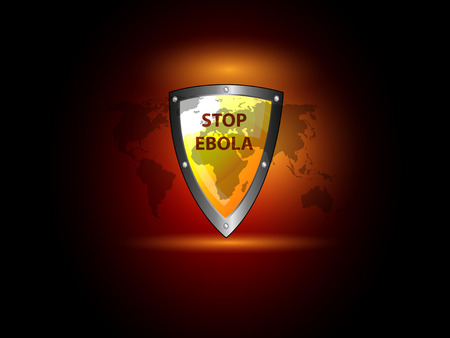 zaire: Stop ebola virus theme background with world map and protection shield