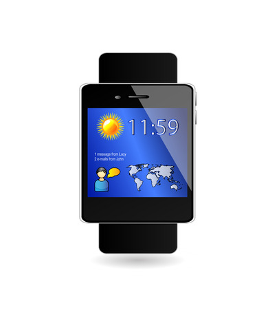user friendly: Vector smart watch with easy, user friendly and hi-tech concept and interface. Modern technology illustration. Isolation over white background. Wearable technology. Illustration