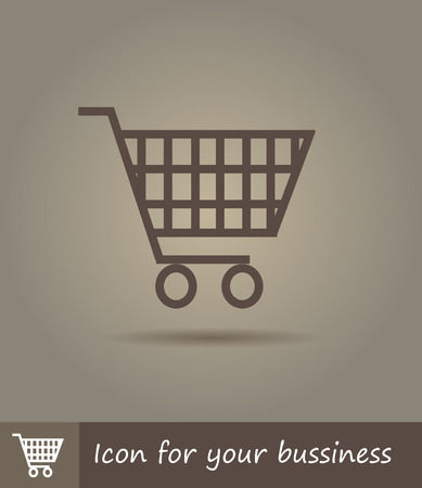 Vector flat line icon illustration of shopping basket Vector