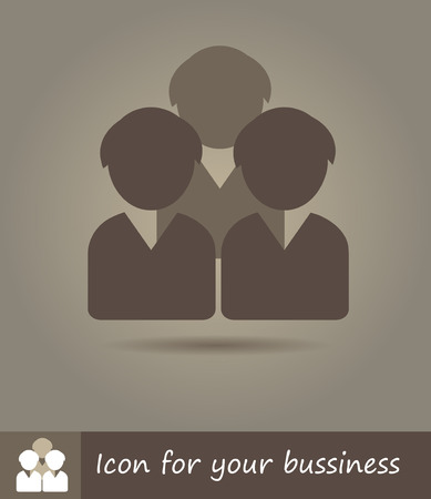 Vector flat line icon illustration of group of three people Vector