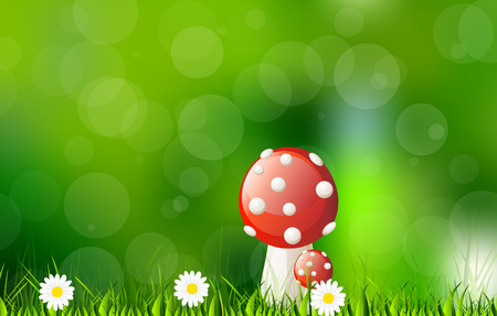 gills: Vector autumn background with mushroom, green grass and nice circle bokeh Illustration