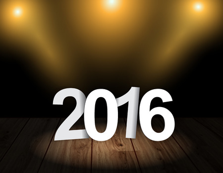 theather: Welcome New year 2016. Text 2016 on wooden floor with light effect. Theather background.