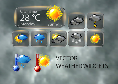 widget: Vector weather widget with nice detailed icons of sun, cloud, rain, snow, thermometer and fog.