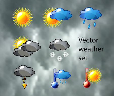 Vector weather set with nice detailed icons of sun, cloud, rain, snow, thermometer and fog.