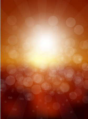 sun flares: Vector abstract sun holiday blurred background. Sunset over sea or ocean with sun flares and nice bokeh circles.