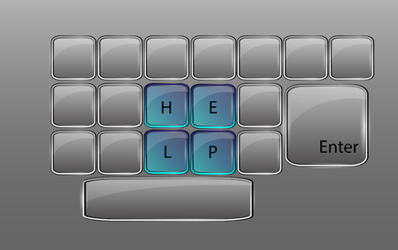 typewriter key: Beautiful vector glossy glass  keyboard with keys isolated over background and with sign HELP