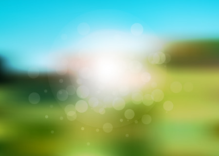 green it: Vector abstract summer holiday blurred background. It looks like summer field with green grass and blue sky. Illustration