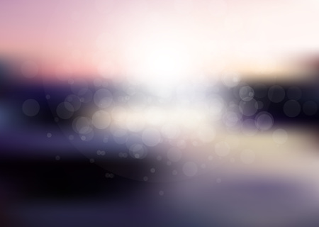 sun flares: Sunset over sea or ocean with sun flares and nice bokeh circles. Illustration