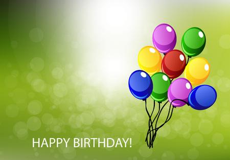fond de texte: carte de joyeux anniversaire avec beaucoup de ballons Illustration
