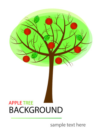 isolation: abstract apple tree. Abstract design. Can be used as nature or ecology background. Isolation over white background.