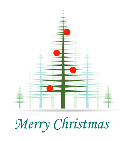 christmas tree. It can be used as christmas card or invitation. Isolation over white background.