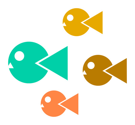 isolation: abstract simple icons of colorful fishes. Isolation over white background.