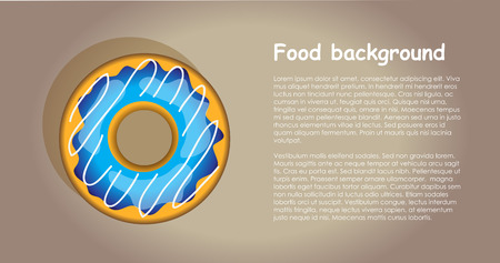 isolation: Vecto tasty sweet colorful donuts. Isolation over brown backgroud. Food template. Illustration