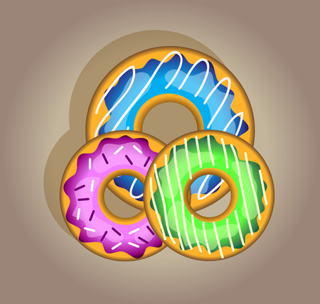 isolation: set of tasty sweet colorful donuts. Isolation over brown background. Food template. Illustration