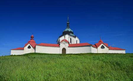unesco in czech republic: UNESCO church of St. John of Nepomuk on Zelena Hora (Green mountain) nearby city Zdar nad Sazavou in Czech republic Stock Photo