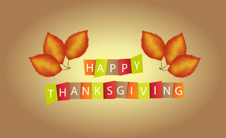 happy family nature: Colorful paper tags or labels with stylize text for Happy Thanksgiving.